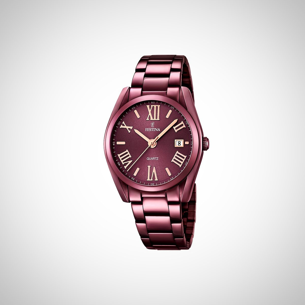 Festina F16865/1 Ladies Plum Dial Stainless Steel Quartz Watch