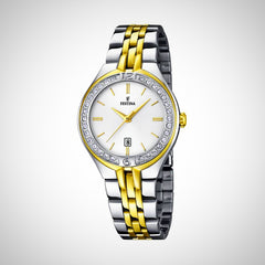 Festina F16868/1 Ladies Two Tone Silver & Gold Crystal pave Watch