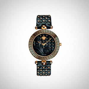 Versace Vanitas VK7530017 Ladies Black Dial 40mm and Leather Strap Swiss Watch