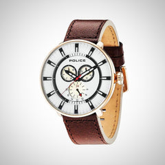 Police 15040XCYR/01 Men's Brown Leather Watch