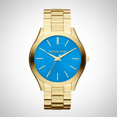 Michael Kors MK3265 Runway Blue Dial Gold Tone Stainless Steel Ladies Watch
