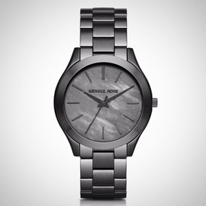 Michael Kors MK3413 Slim Runway Grey Dial Gunmetal plated Ladies Watch