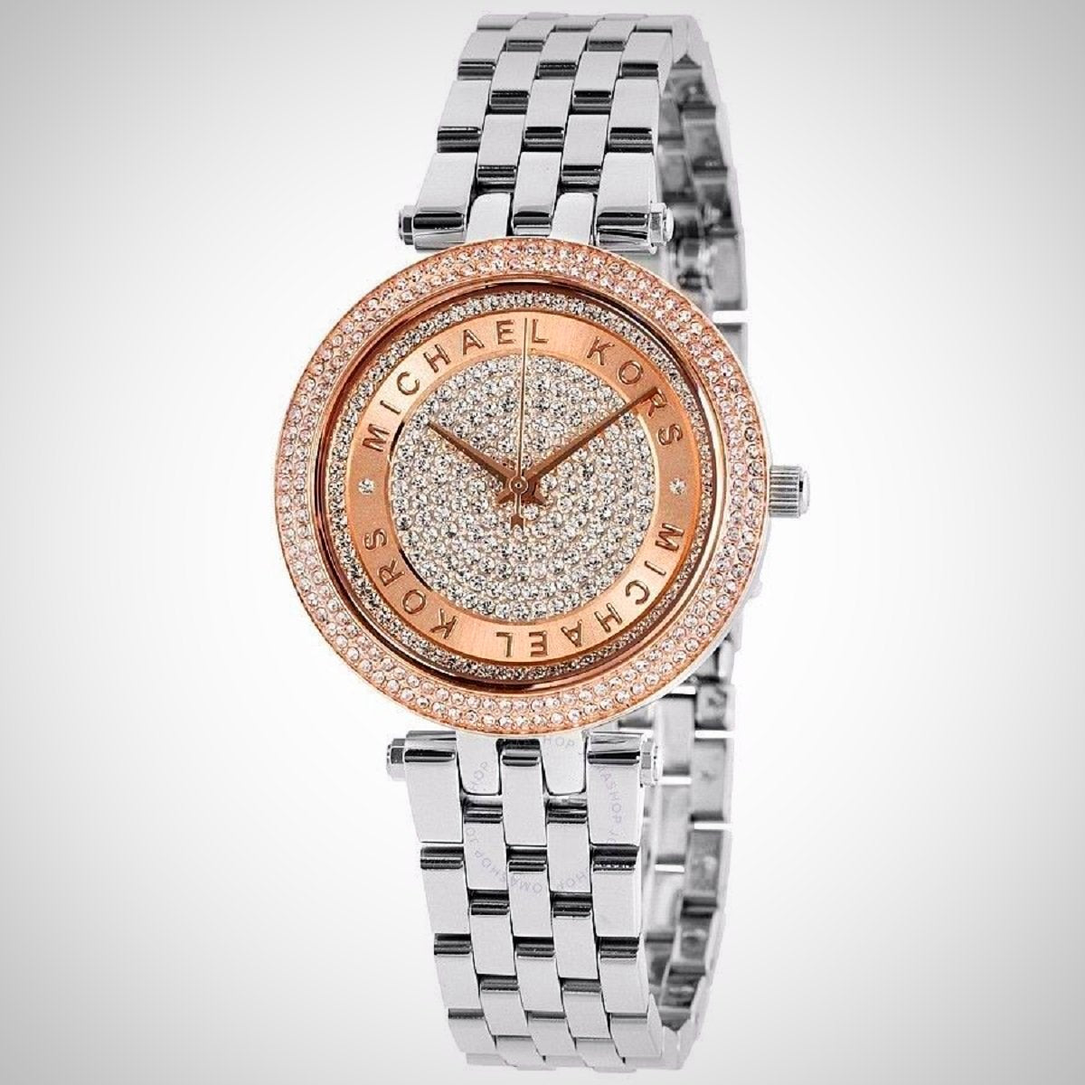 Michael Kors MK3446 Mini Darci Crystal Pave Dial Two Tone Ladies Watch