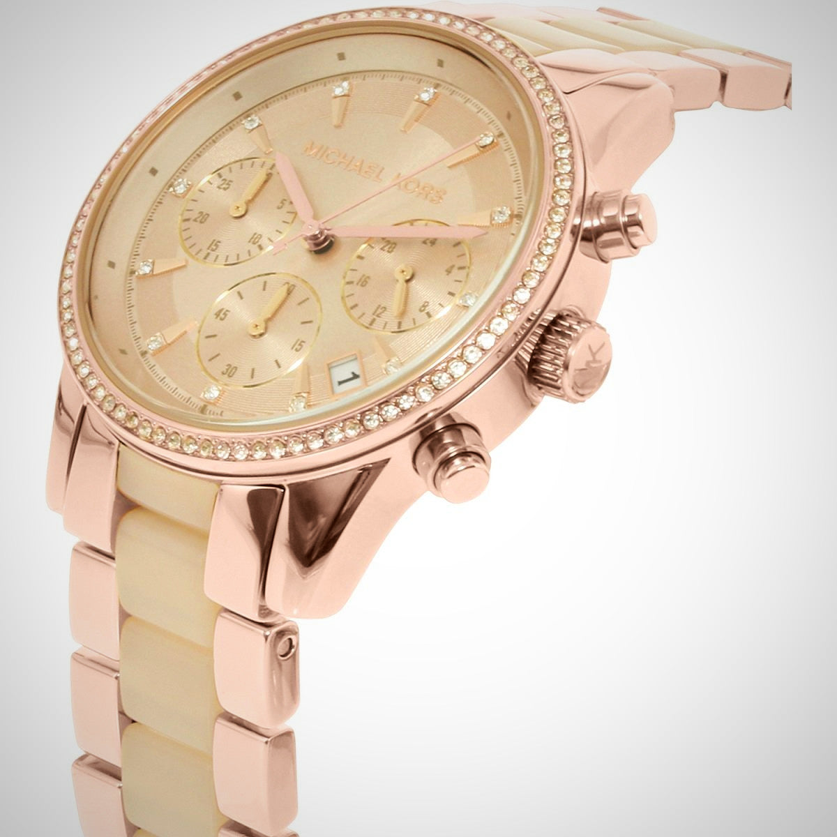 Michael Kors MK6307 Ritz Rose Gold Stainless Steel Chronograph Ladies Watch