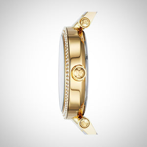 Michael Kors MK6313 Parker Ladies' Gold-Tone and White Acetate Quartz Watch