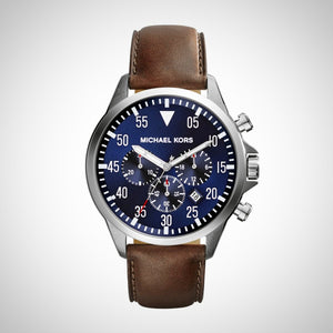 Michael kors MK8362 Gage Chronograph Blue Dial Brown Leather Men's Watch