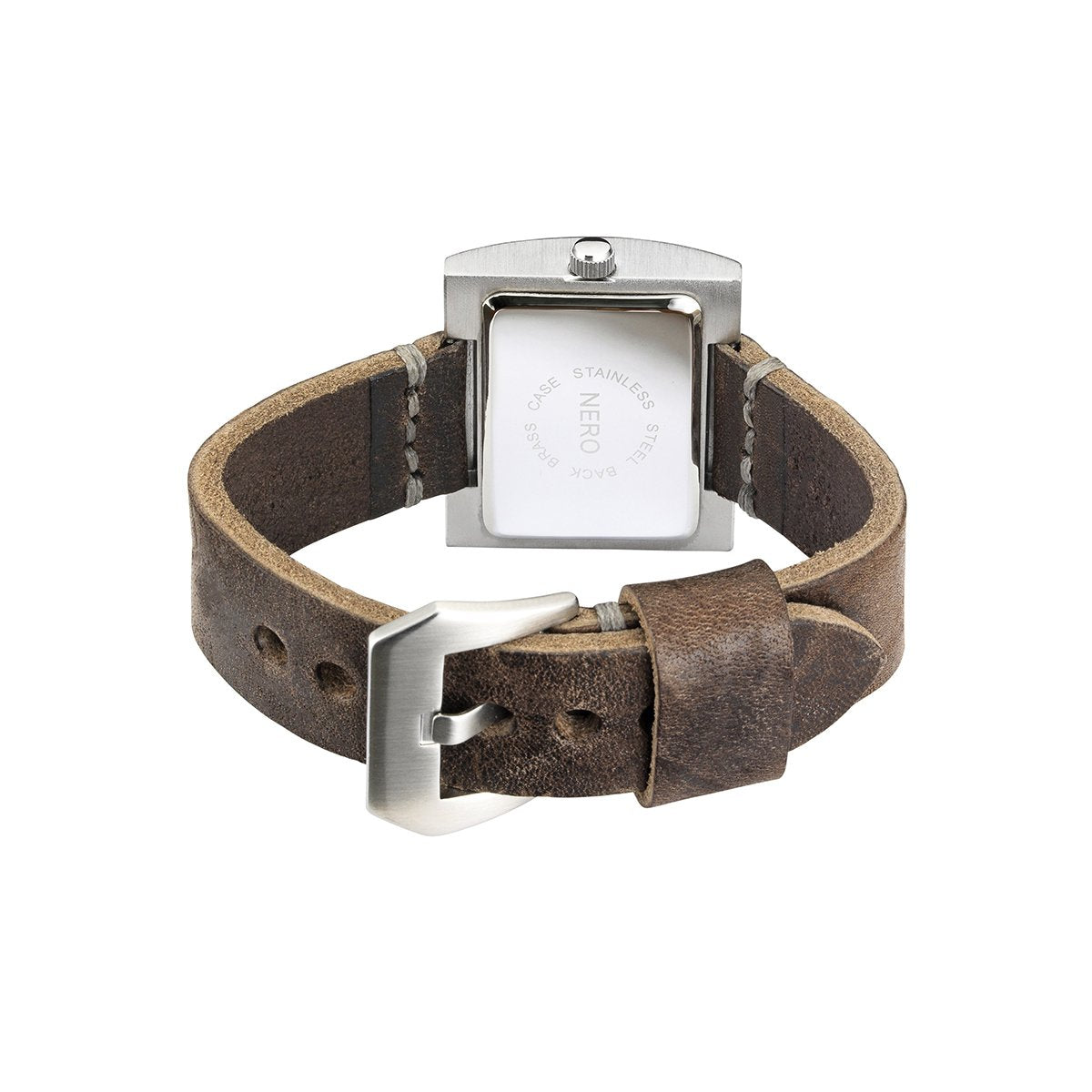 Nero Steel 104 Unisex Brown Leather Strap Watch