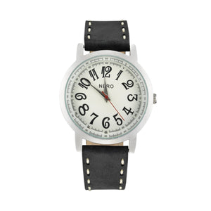 Nero Steel 105 Mens Black Leather Watch