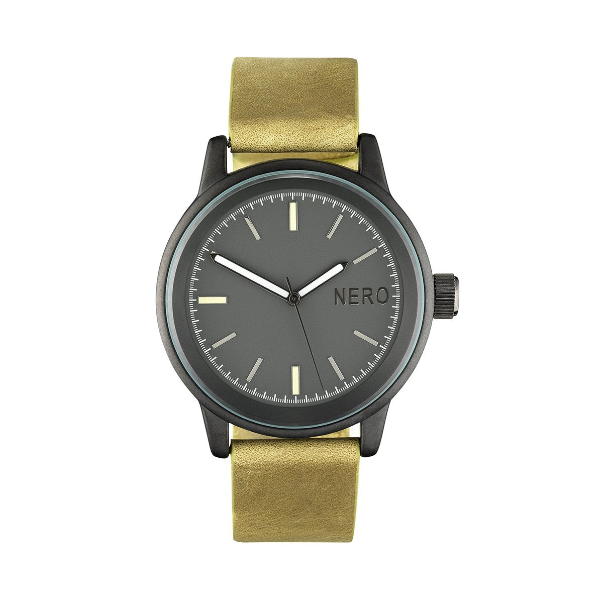 Nero Steel 112 Lime Leather Strap Unisex Watch