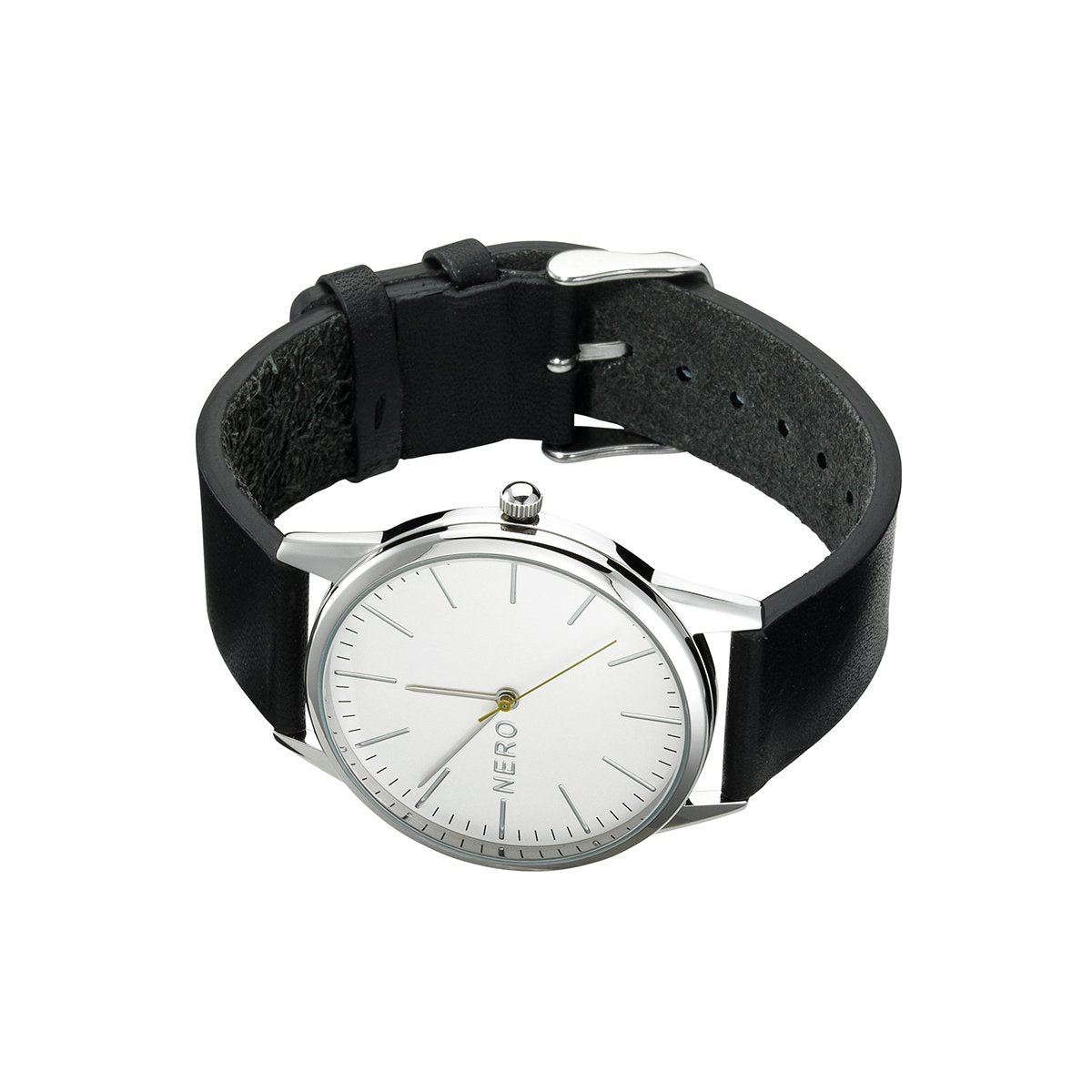 Nero Steel 113 Unisex Charcoal Leather Strap Watch