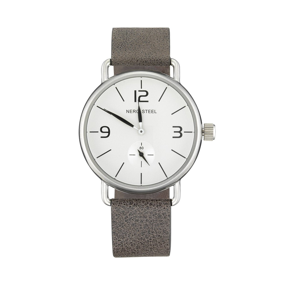 Nero Steel 114 Unisex Colt Charcoal Leather Strap Watch