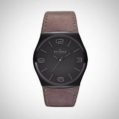 Skagen SKW6041 Perspektiv Mens Black Dial Grey Leather Qartz Watch