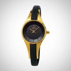 Obaku V110LXGBRB Ladies Black Dial PVD Gold Plated Watch