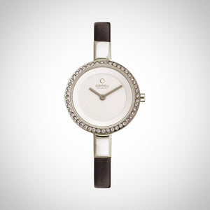 Obaku V129LECIRB Ladies White Dial Leather Strap Watch