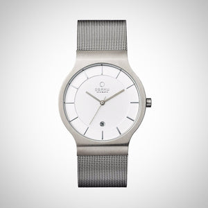 Obaku V133GCIMC1 Men's Stainless Steel Case White Dial Watch
