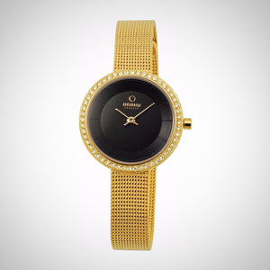 Obaku V146LEGBMG Ladies PVD Gold plated Case Black Dial Watch