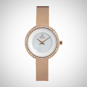 Obaku V146LEVWMV Rose Gold Case White Dial Ladies Watch