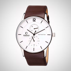 Obaku V157GMCIRN Men's Genuine Leather Strap Watch