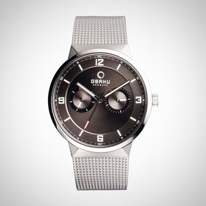 Obaku V170GMCBMC Men's Black Dial Silver Strap Watch