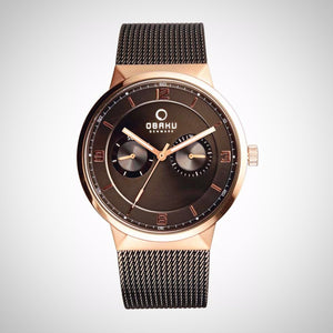 Obaku V170GMVBMB Men's Brown Metal Strap Watch