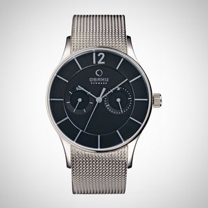 Obaku V175GMCBMC Men's Multifunction Mesh Strap Watch