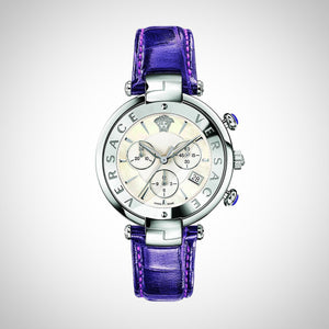 Versace VAJ030016 Revive Chrono Ladies Purple Leather Watch