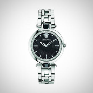 Versace VAN030016 Crystal Gleam Ladies Black Guilloche Dial Swiss Watch