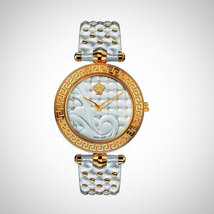 Versace VK7200014 Vanitas Ladies Silver Leather Watch