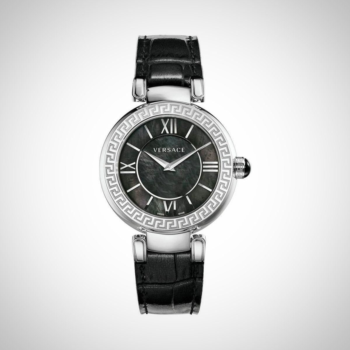 Versace Leda VNC010014 Ladies Black Leather Strap Swiss Watch