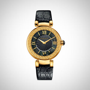 Versace Leda VNC040014 Ladies Black Leather Strap Swiss Watch