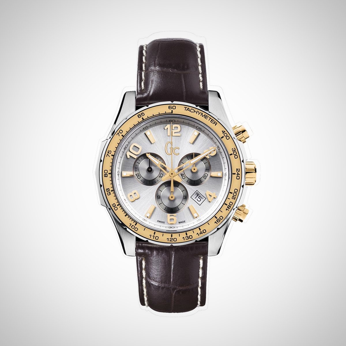 Guess Collection X51005G1S Mens Chronograph Two Tone Quartz Leather Strap Watch