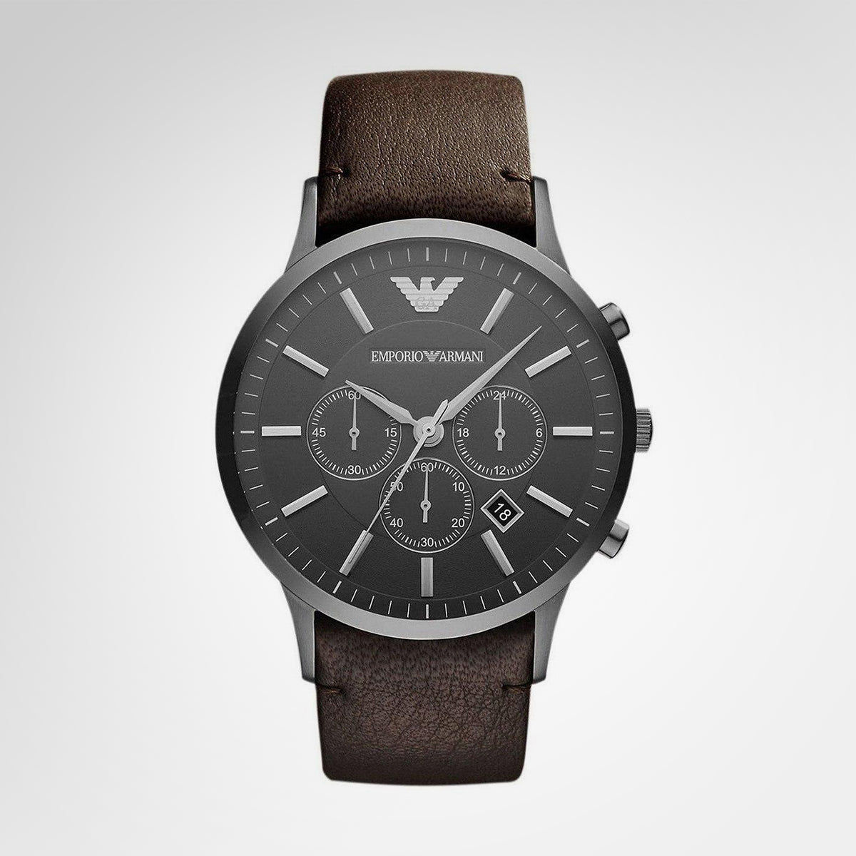 Emporio Armani AR2462 Sportivo Men's Chronograph Brown Leather Strap Quartz Watch