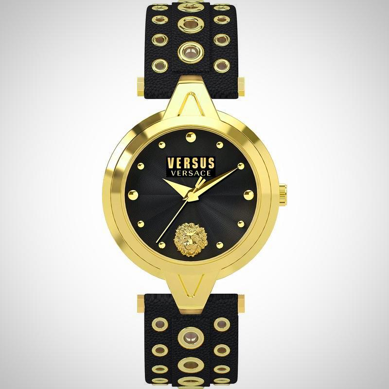 Versus By Versace SCI030016 Ladies Eyelets Black Leather Watch