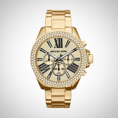 Michael Kors MK6095 Ladies Wren PVD Gold Crystal Chronograph Watch