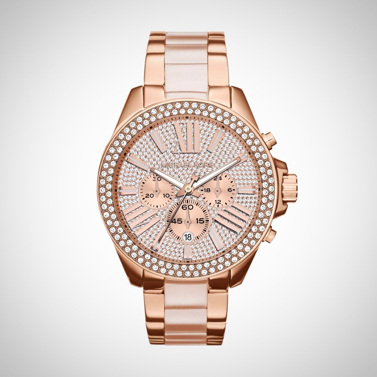 Michael Kors MK6096 Ladies Wren Crystal Pave Dial PVD Rose Watch