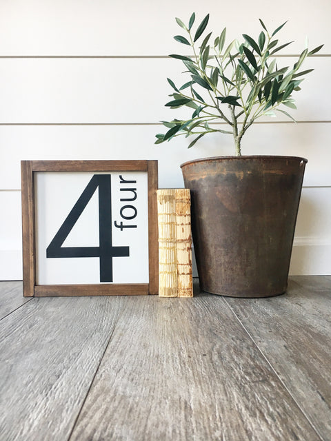 Family Number Wooden Sign