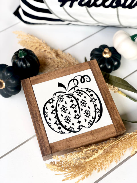 Aztec Pumpkin Mini Wooden Sign