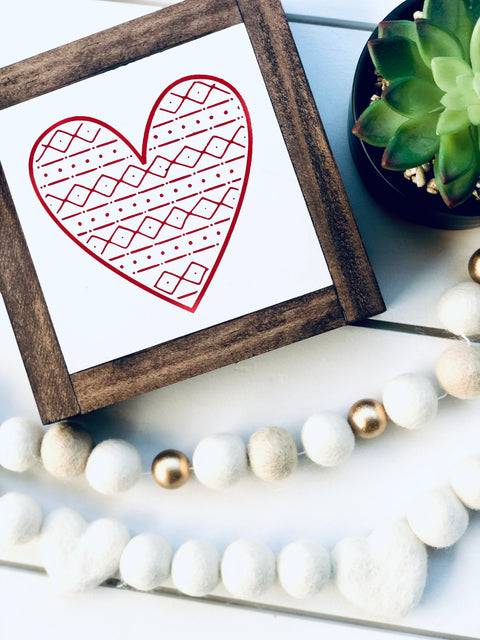 Aztec Heart Mini Wooden Sign