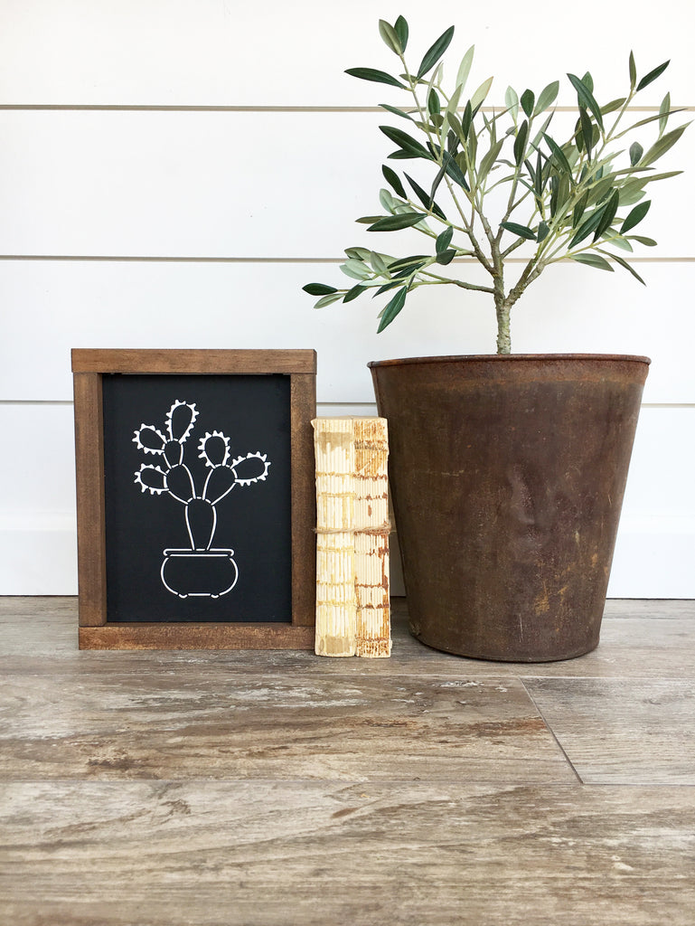Boho Cactus Wooden Sign