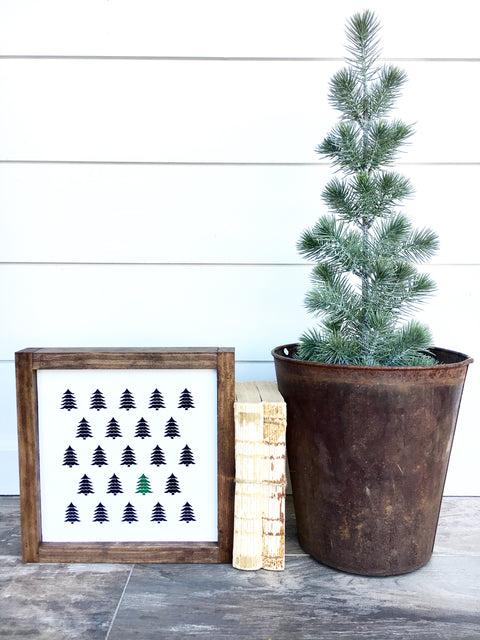 Christmas Tree Maze Wooden Sign