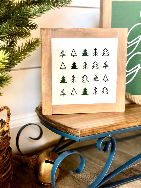 Christmas Trees Mini Wooden Sign