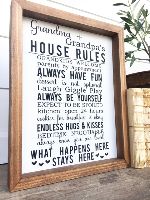 Grandma & Grandpa's House Rules Wooden Sign