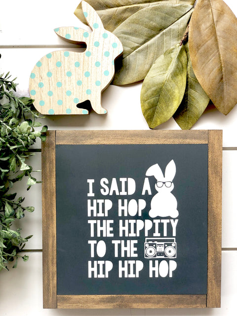 Hip Hop Bunny Wooden Sign