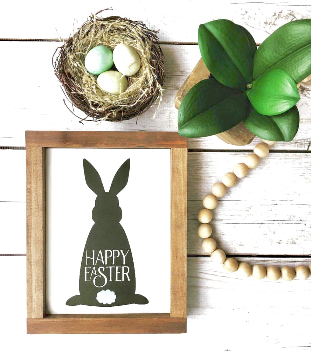 Happy Easter Bunny Wooden Sign