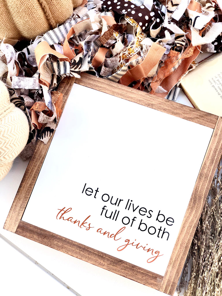 Full Of Thanks & Giving Wooden Sign
