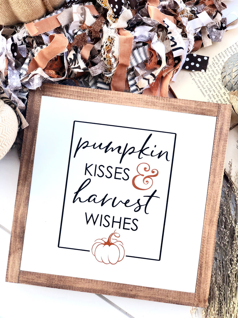 Pumpkin Kisses & Harvest Wishes Large Wooden Sign
