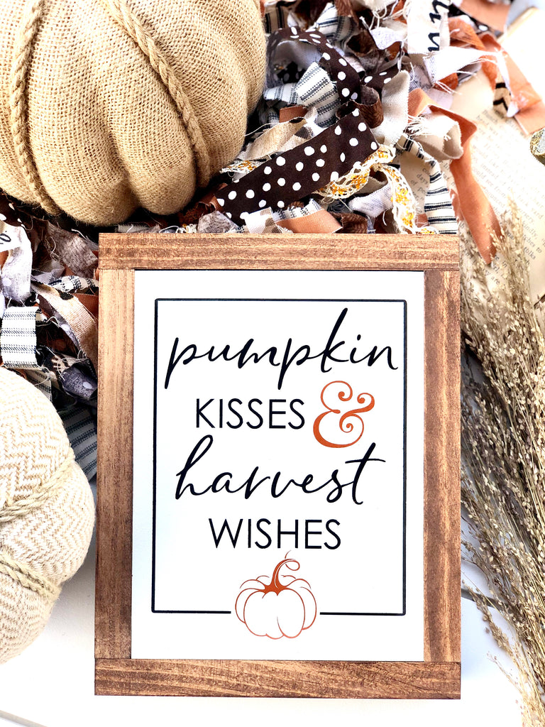 Pumpkin Kisses & Harvest Wishes Small Wooden Sign