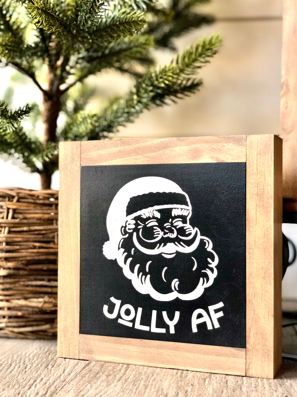 Jolly AF Santa Black Mini Wooden Sign