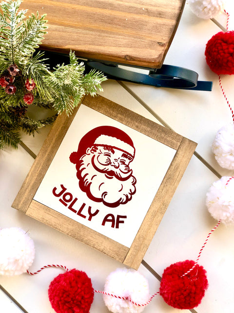 Jolly AF Santa Mini Wooden Sign