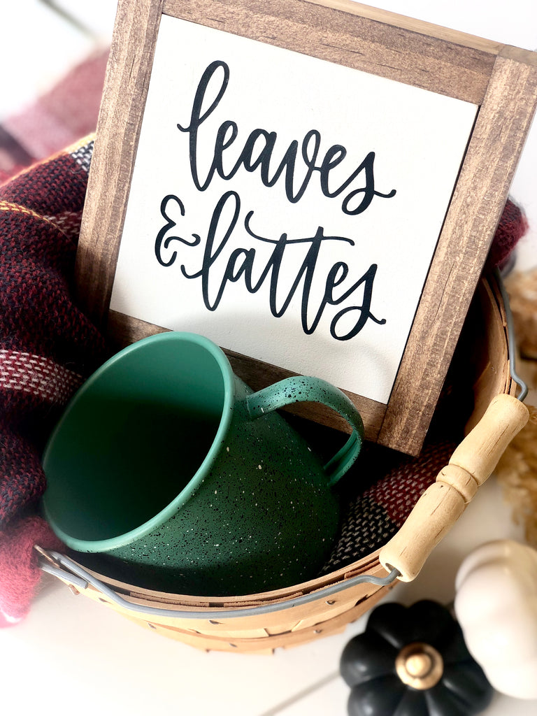 Leaves & Lattes Mini Wooden Sign